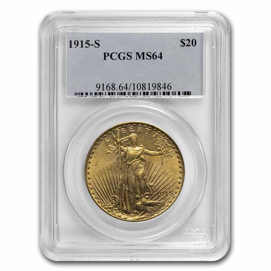 1915-S $20 St. Gaudens Gold Double Eagle MS-64 PCGS