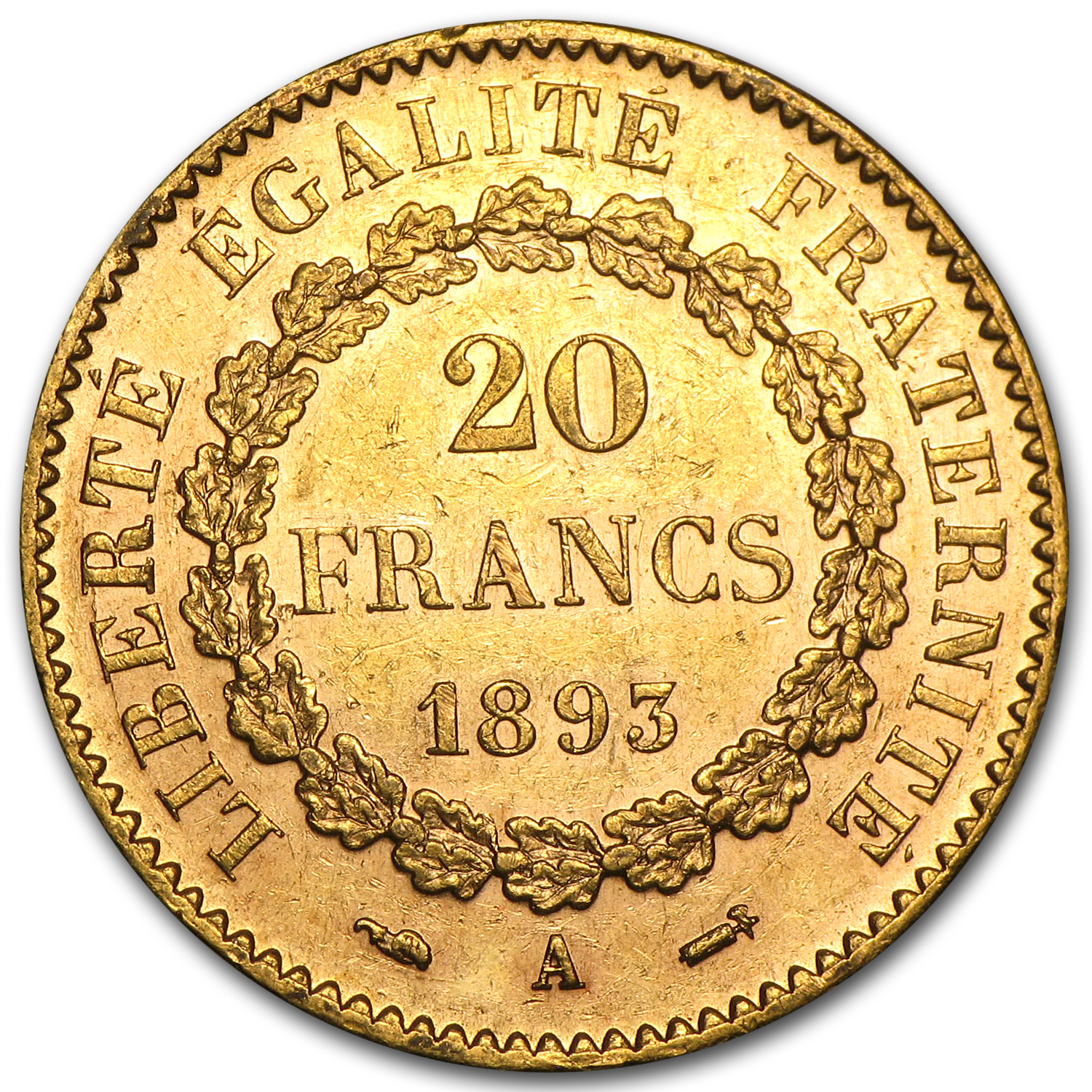 1871-1898 France Gold 20 Francs Lucky Angel BU