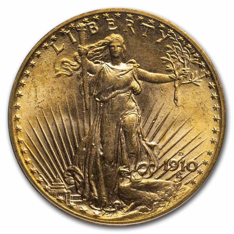 1910-D $20 St. Gaudens Gold Double Eagle MS-64 PCGS