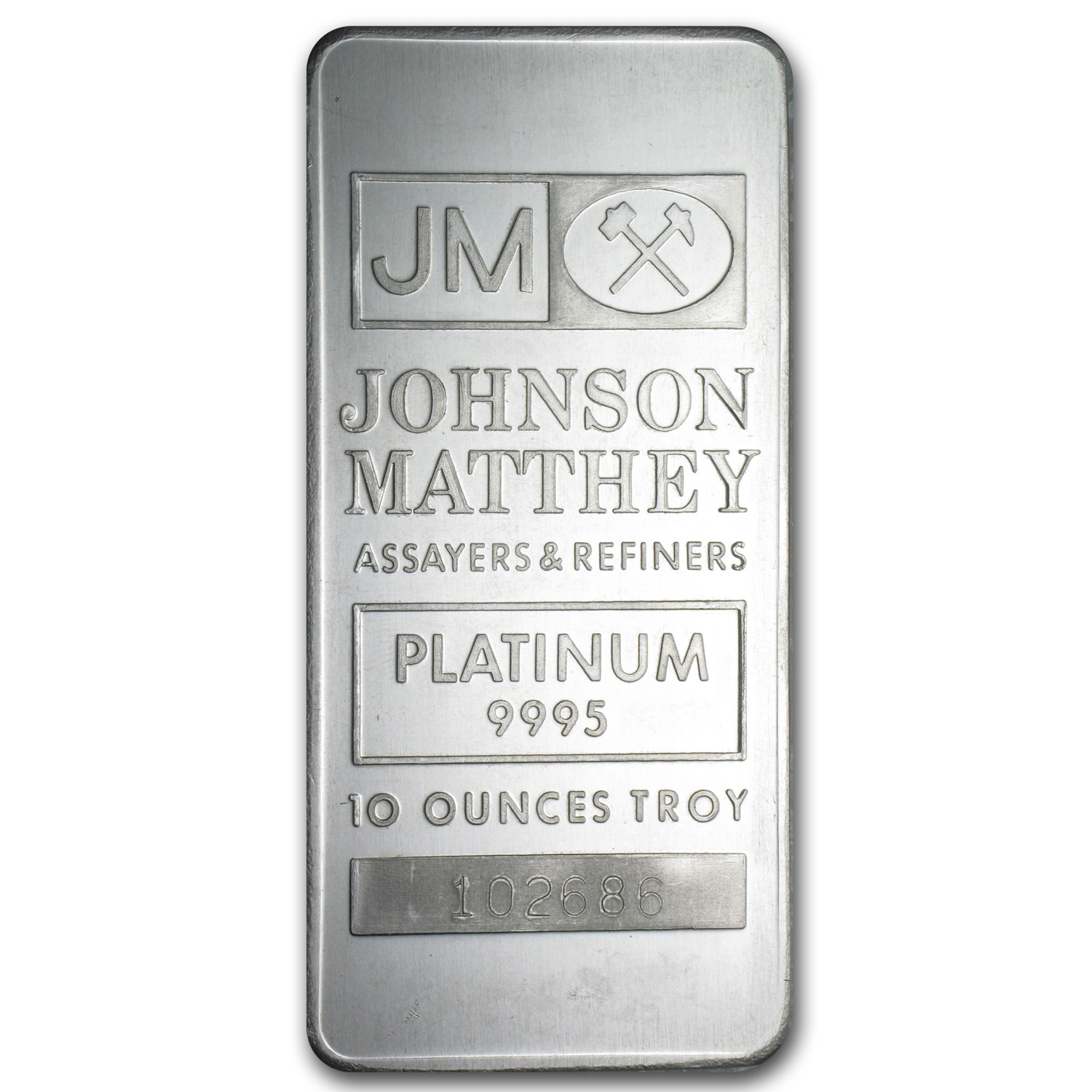 10 oz Platinum Bar - Johnson Matthey (Logo Back, No Assay)