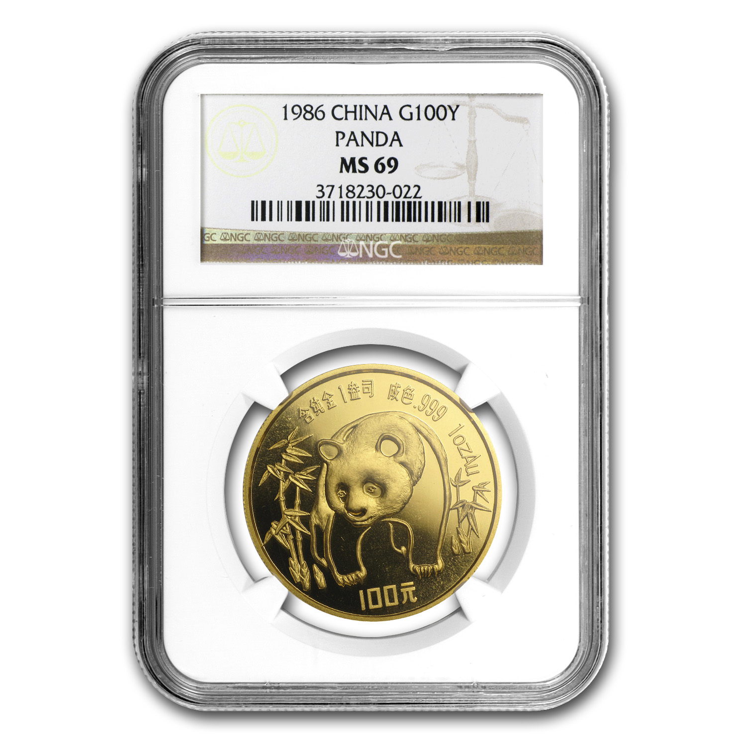 1986 China 1 oz Gold Panda MS-69 NGC
