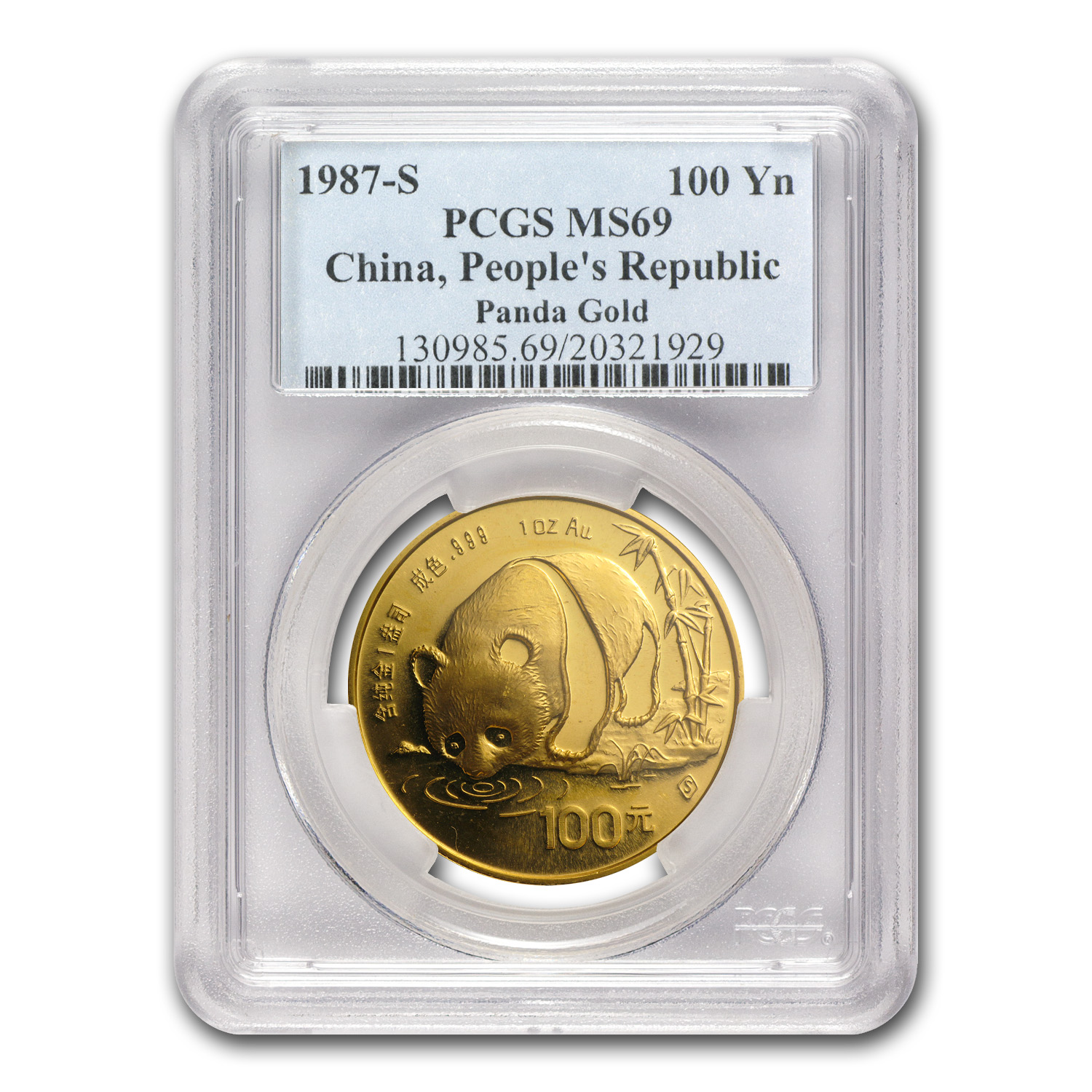 1987-S China 1 oz Gold Panda MS-69 PCGS