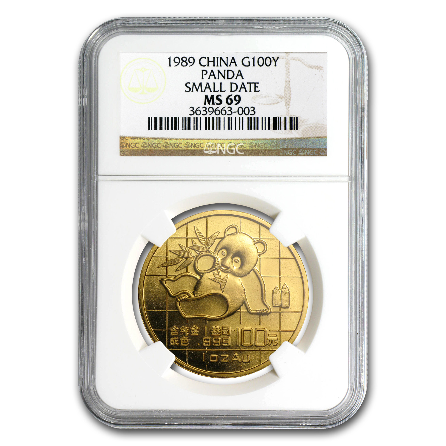 1989 1 oz Gold Chinese Panda MS-69 NGC - Small Date
