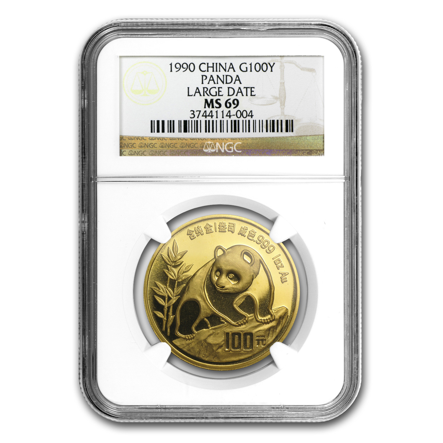 1990 China 1 oz Gold Panda Large Date MS-69 NGC