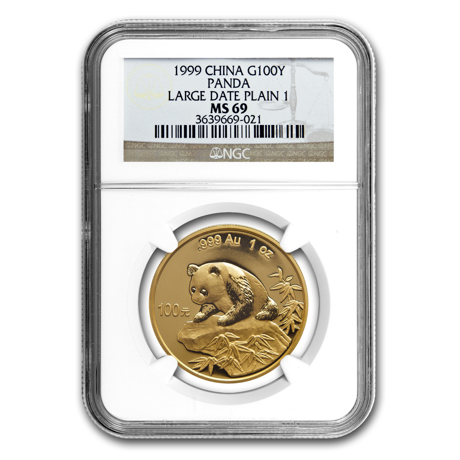 1999 China 1 oz Gold Panda Large Date/No Serif MS-69 NGC