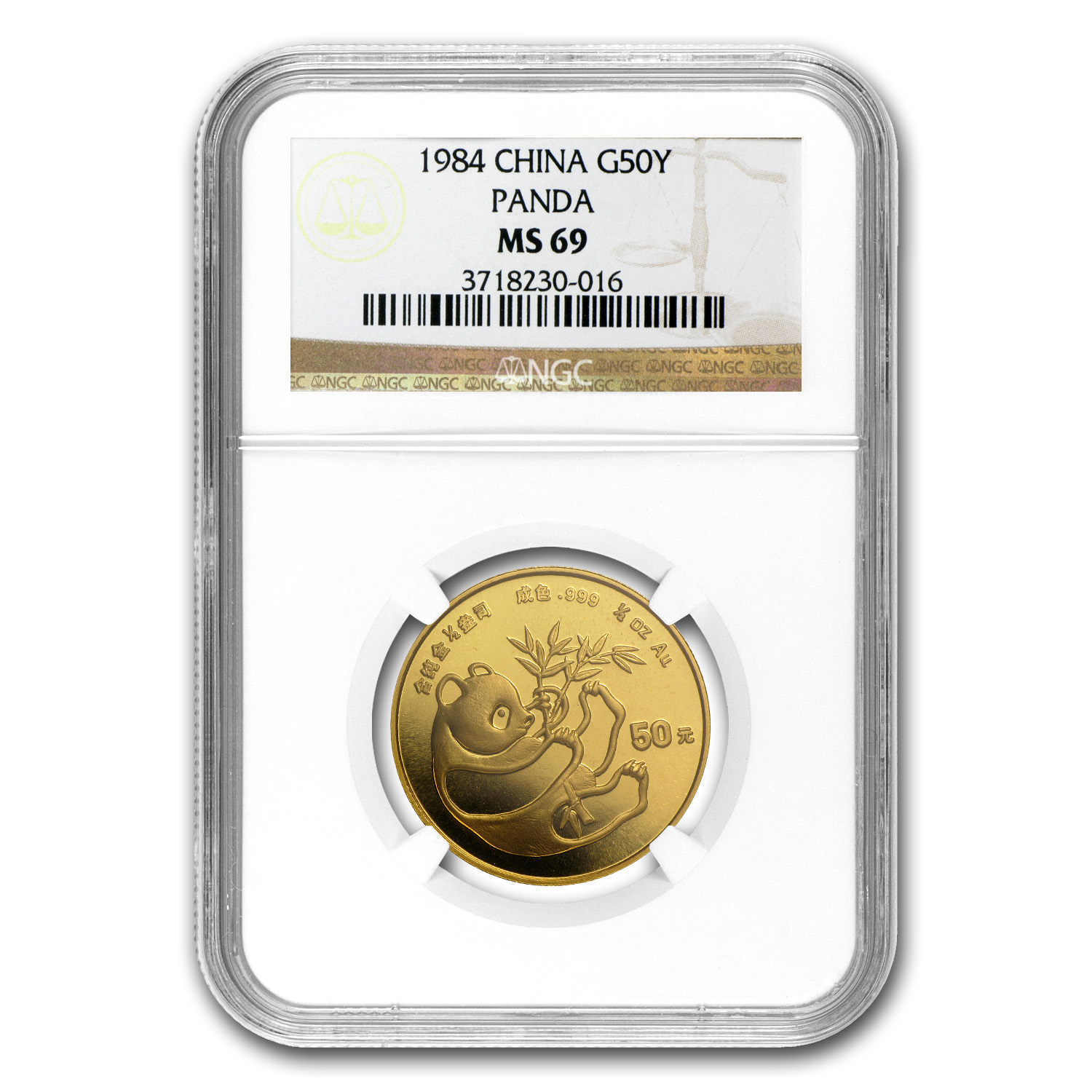 1984 China 1/2 oz Gold Panda MS-69 NGC