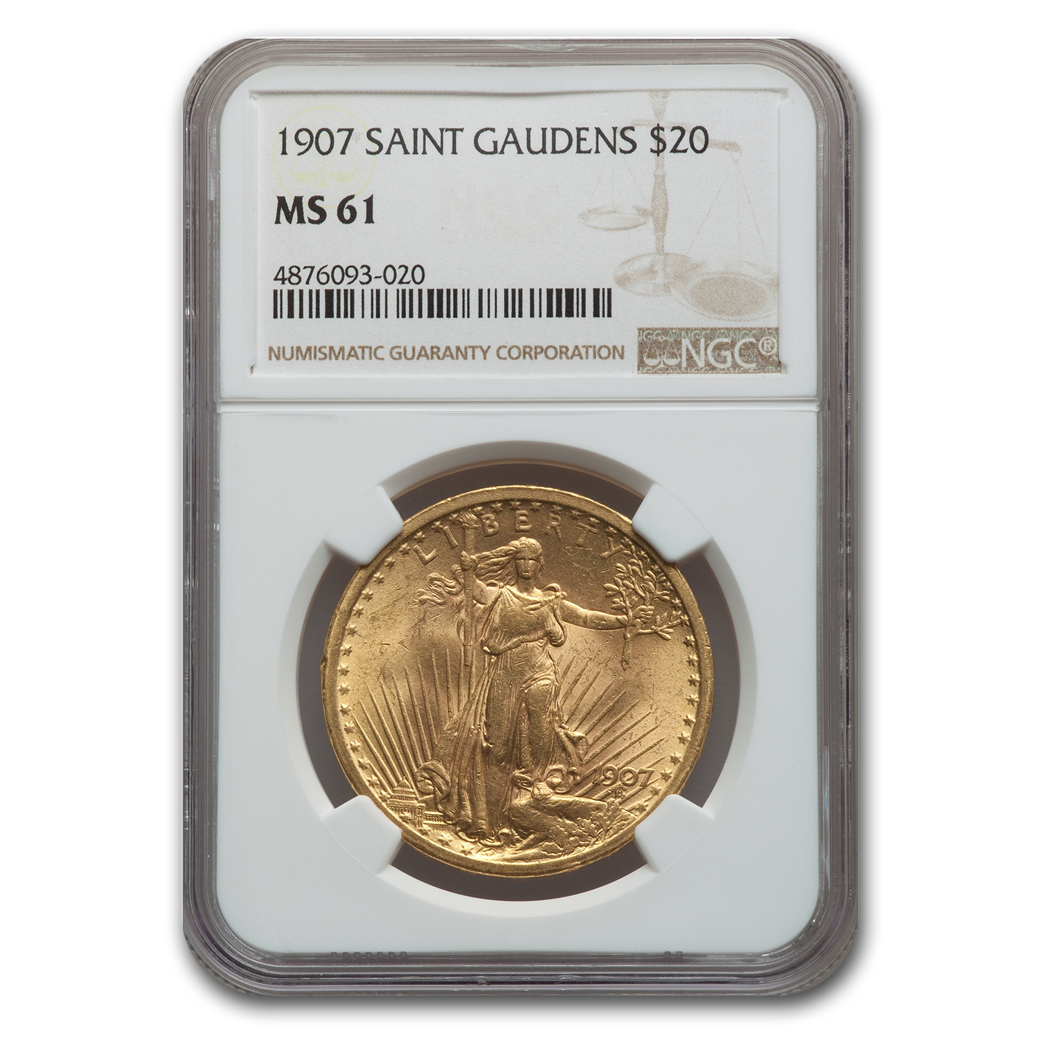 1907 $20 St. Gaudens Gold Double Eagle MS-61 NGC