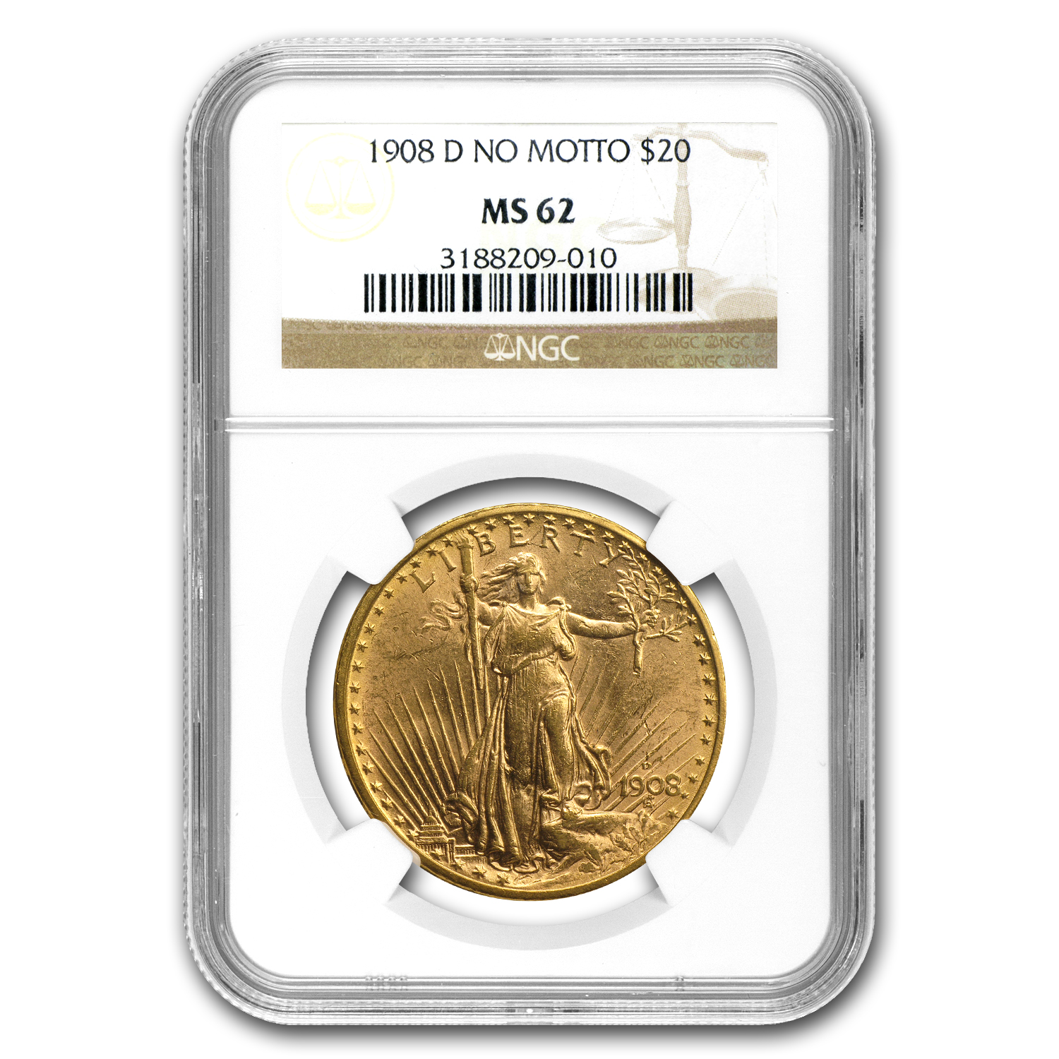 1908-D $20 St. Gaudens Gold No Motto MS-62 NGC