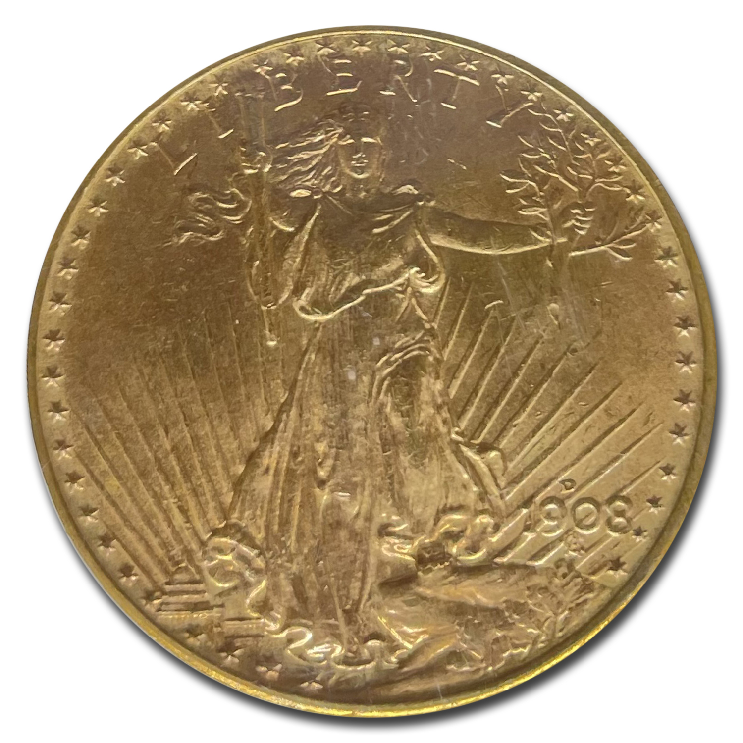 1908-D $20 St. Gaudens Gold - No Motto - MS-65 PCGS