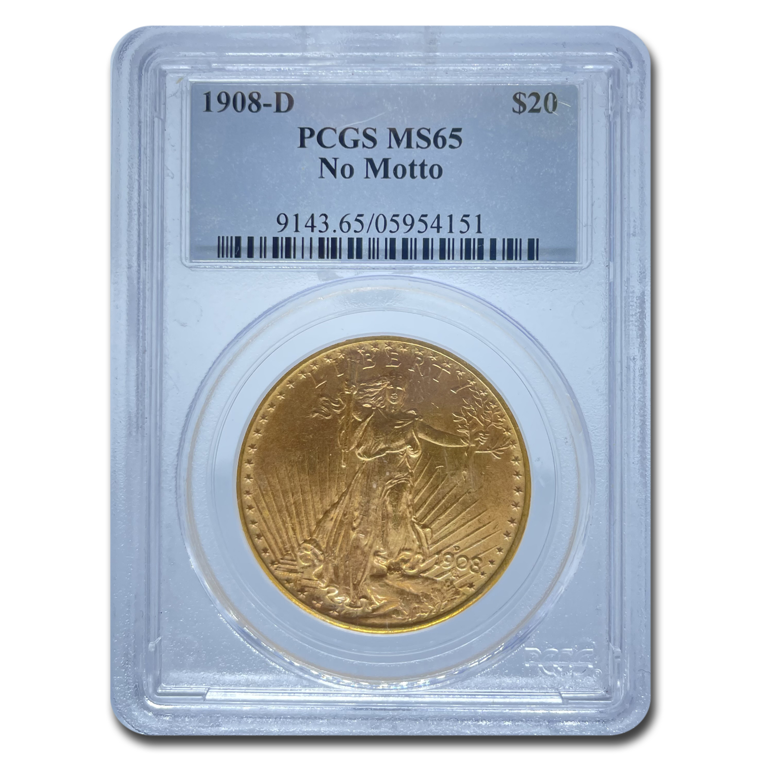 1908-D $20 Saint-Gaudens Gold No Motto MS-65 PCGS