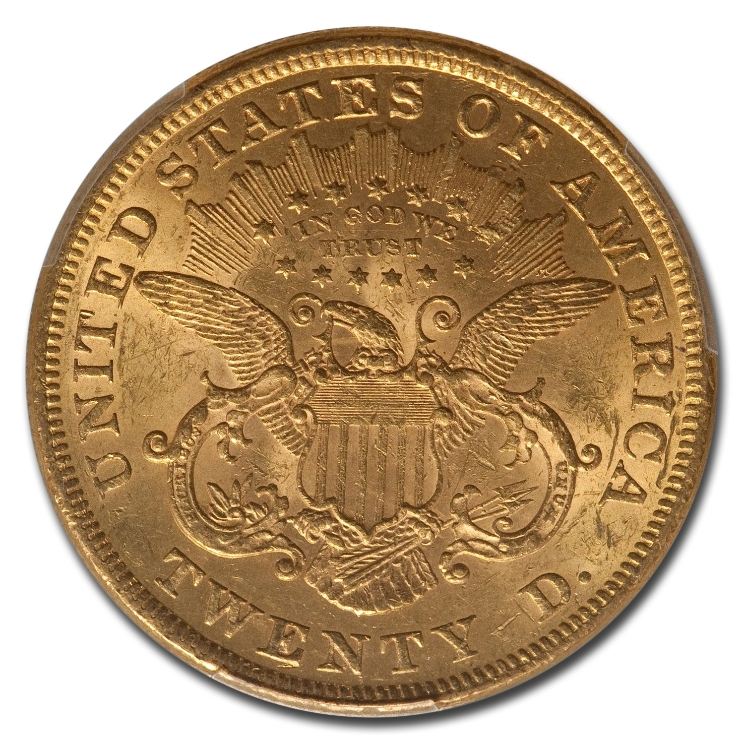 1873 $20 Gold Liberty Double Eagle - (Open 3) - MS-61 PCGS