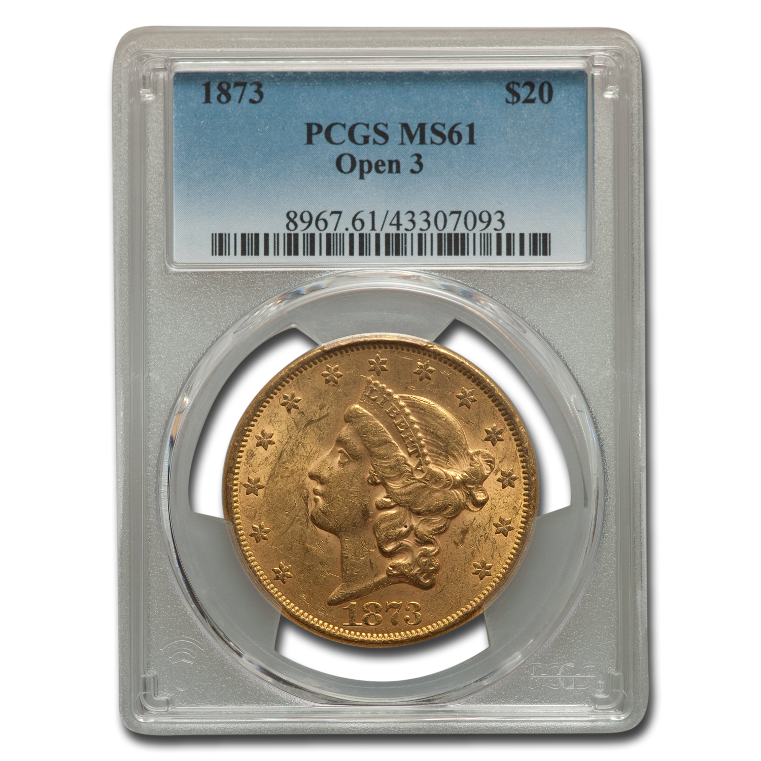 1873 $20 Gold Liberty Double Eagle MS-61 PCGS (Open 3)