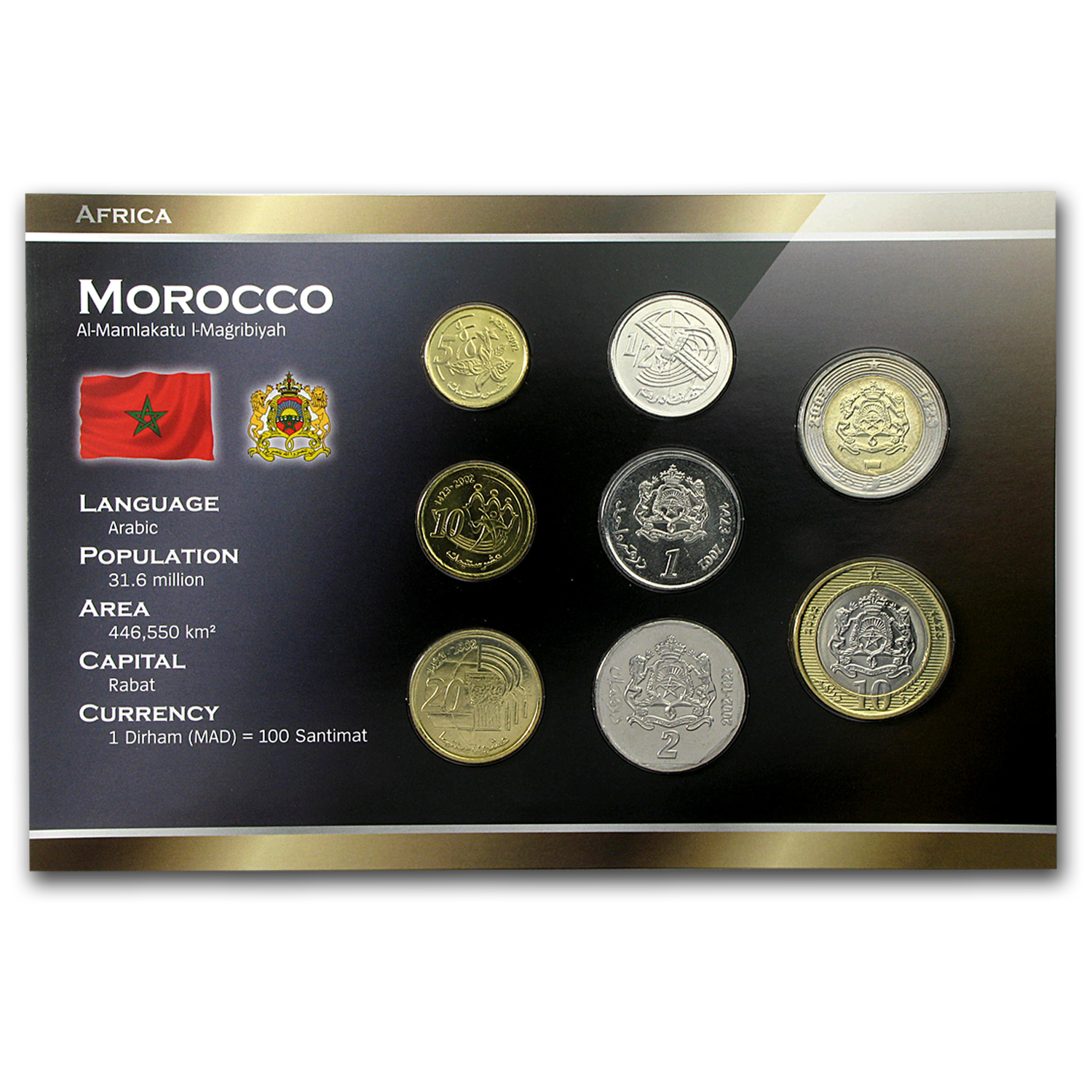 2002 Morocco 5 Santimat-10 Dirhams Set Unc