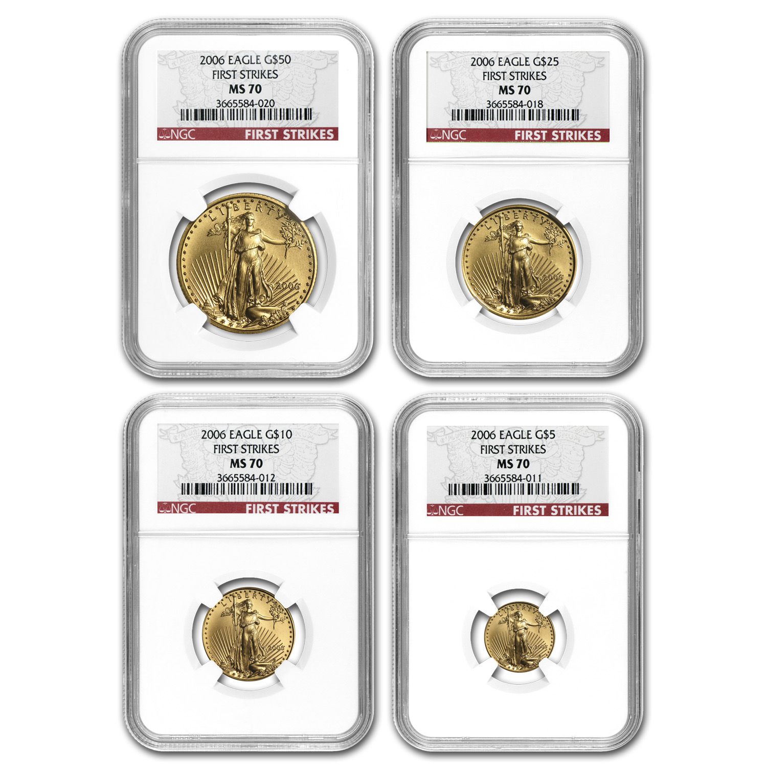 2006 4-Coin Gold American Eagle Set MS-70 NGC (FS, Registry Set)