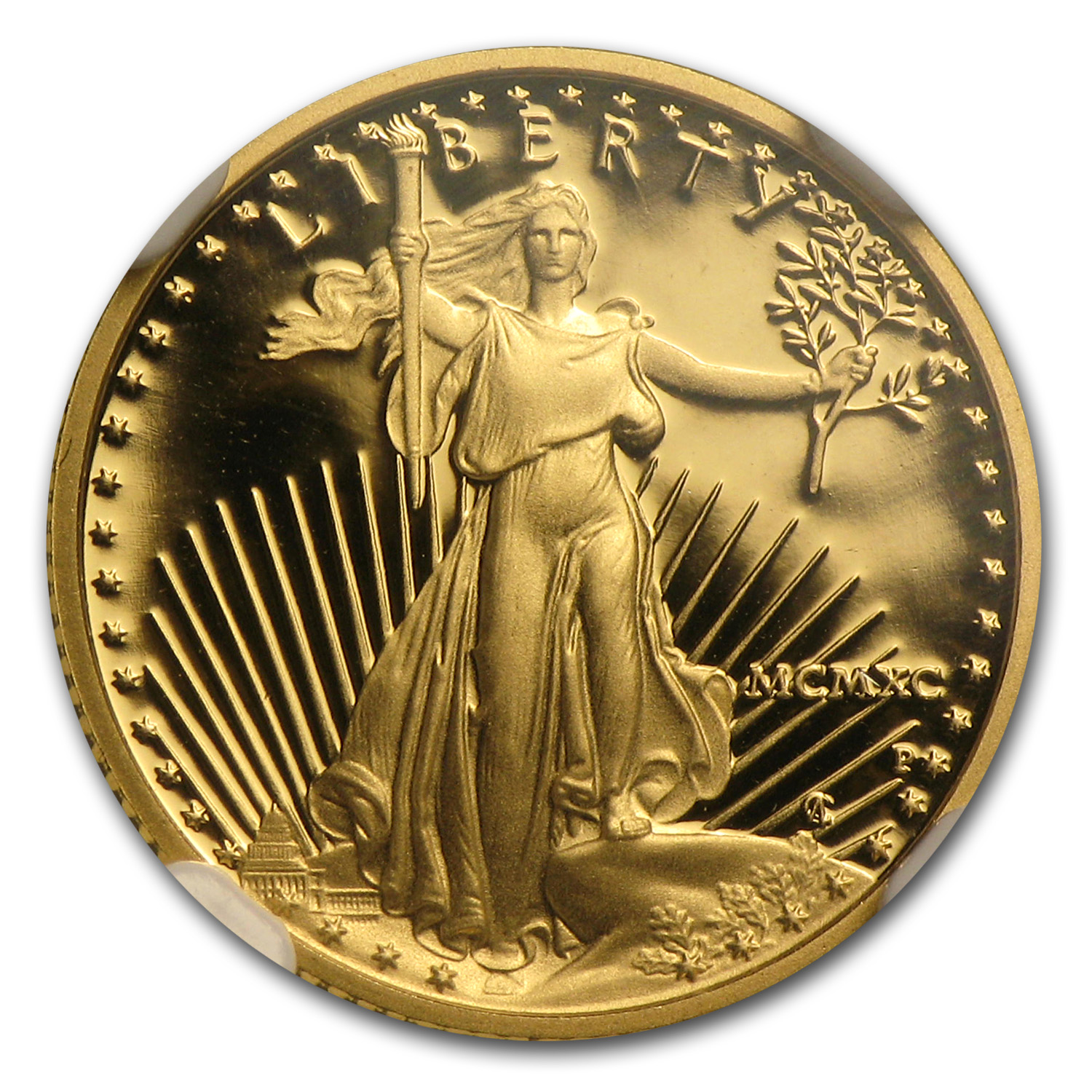 1990-P 1/10 oz Proof Gold American Eagle PF-70 NGC