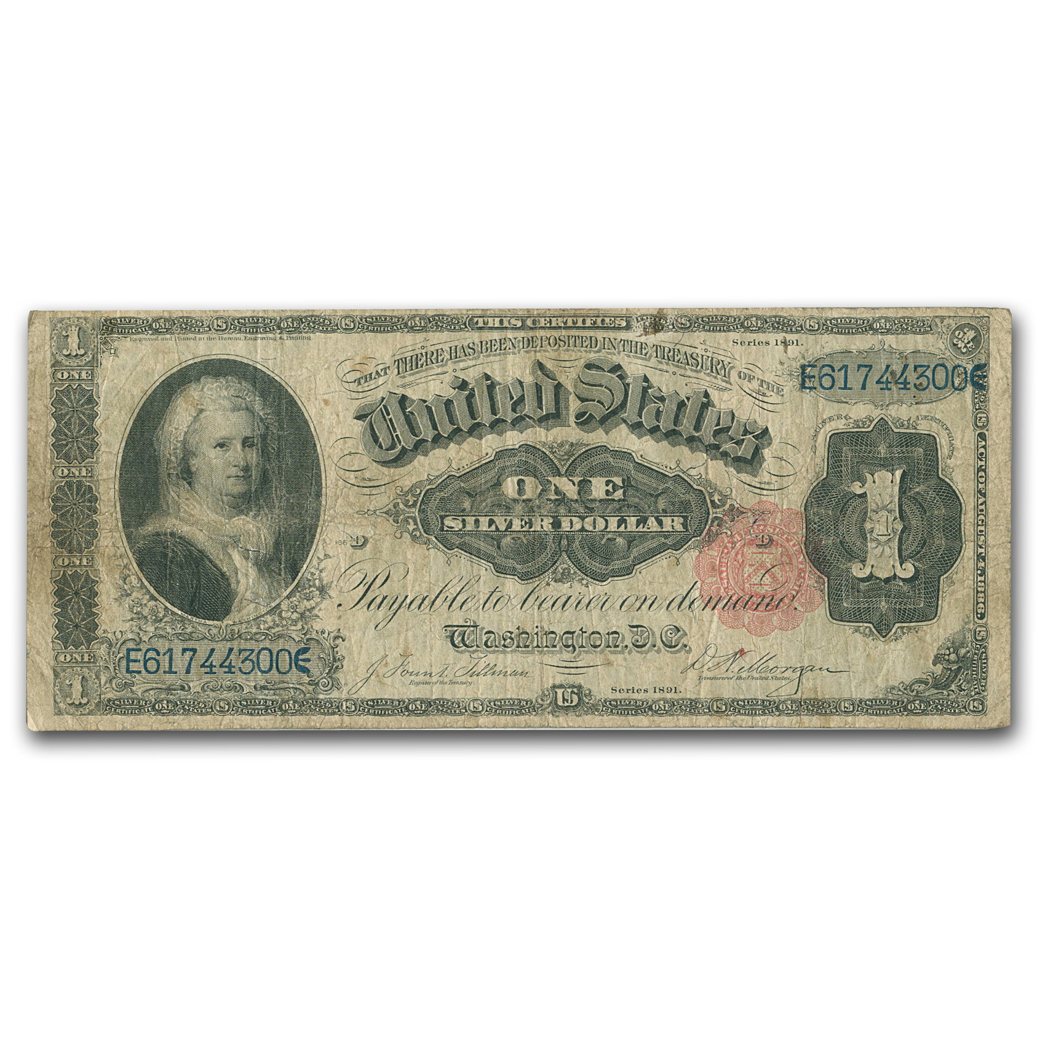 1891 $1.00 Silver Certificate Martha Washington Fine