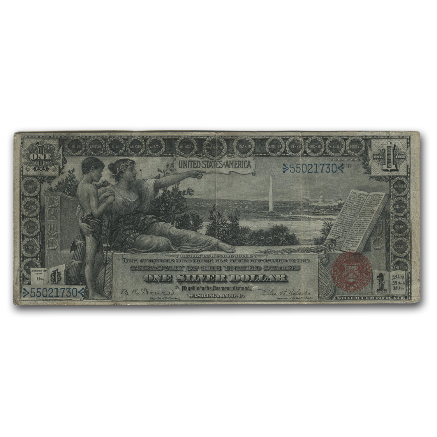 1896 $1.00 Silver Certificate Educational Note VF