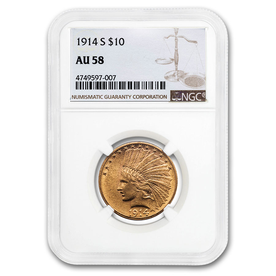 1914-S $10 Indian Gold Eagle AU-58 NGC