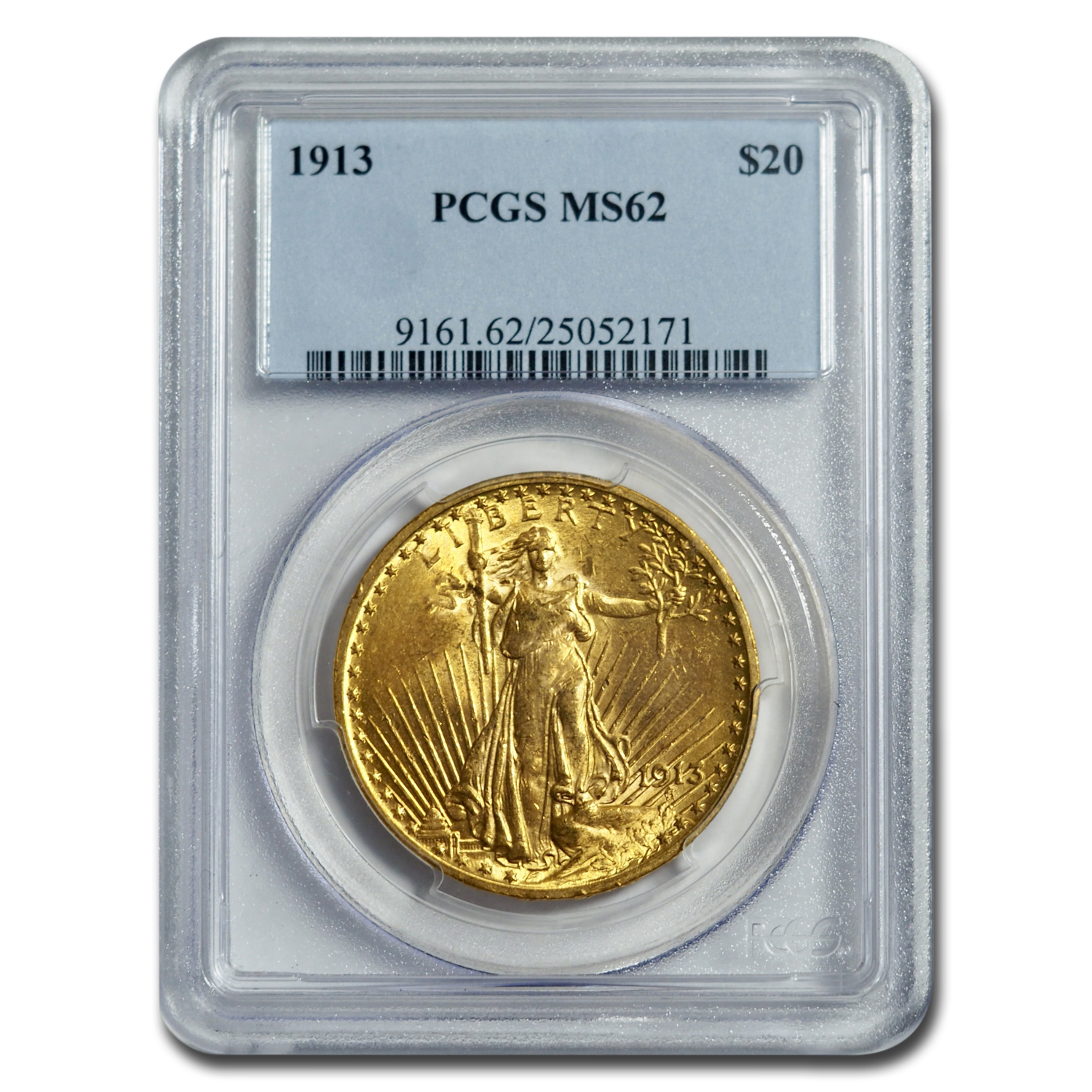 1913 $20 St. Gaudens Gold Double Eagle MS-62 PCGS