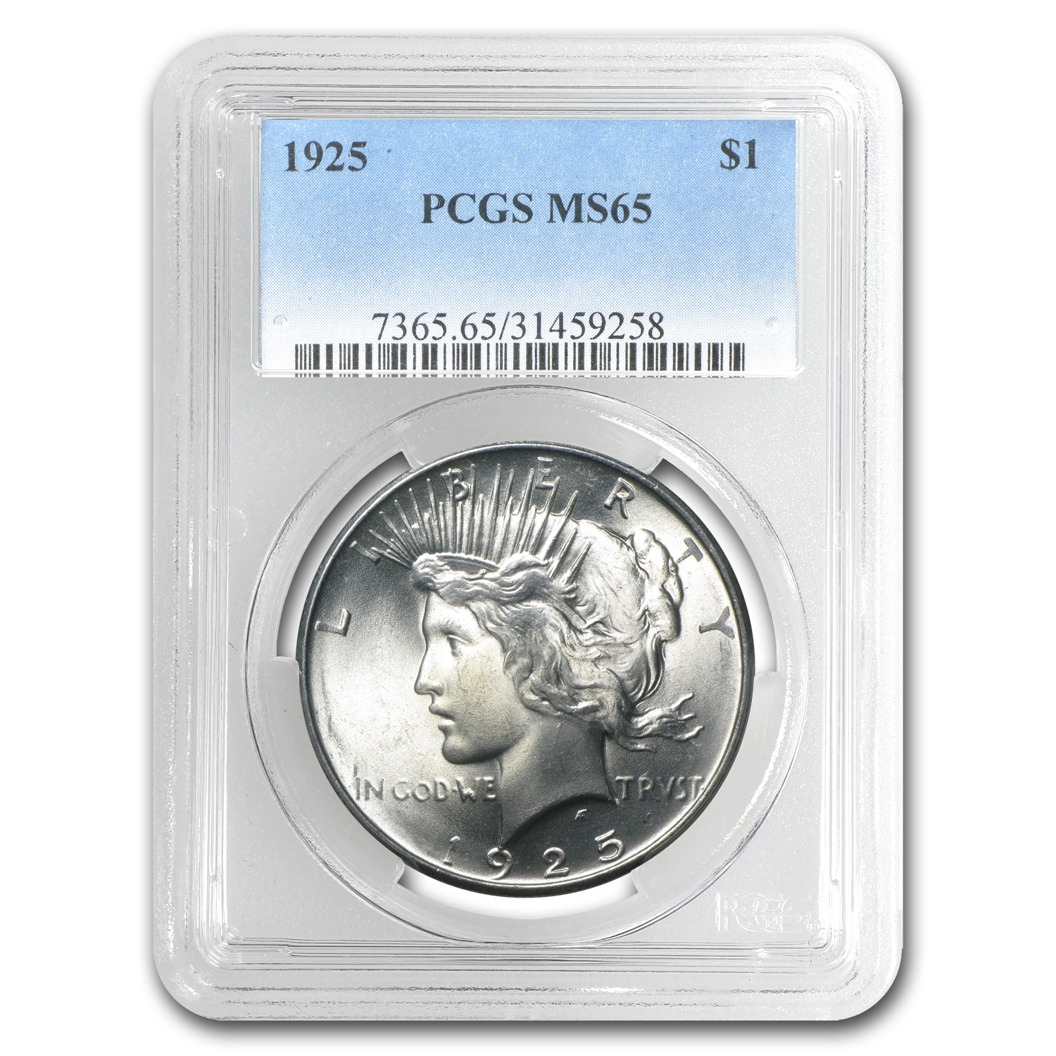 1925 Peace Dollar MS-65 PCGS