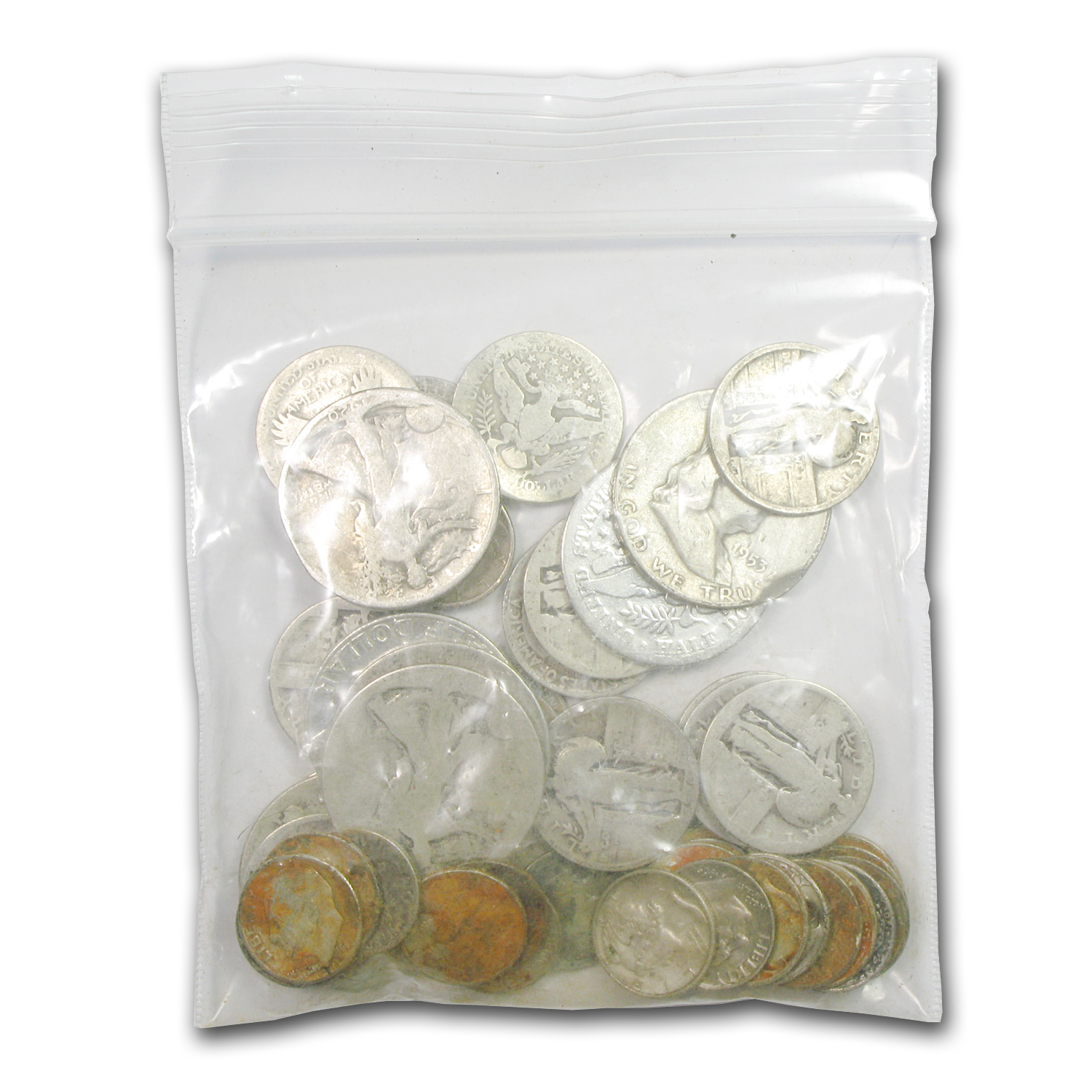 $10 Face-Value lot of 90% Silver Coins (Cull)