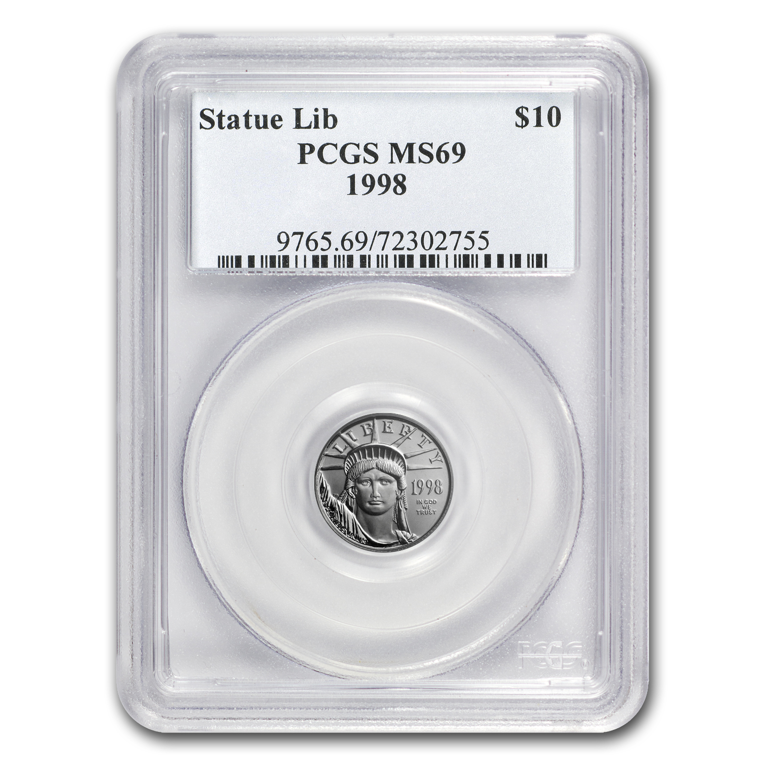 1998 1/10 oz Platinum American Eagle MS-69 PCGS