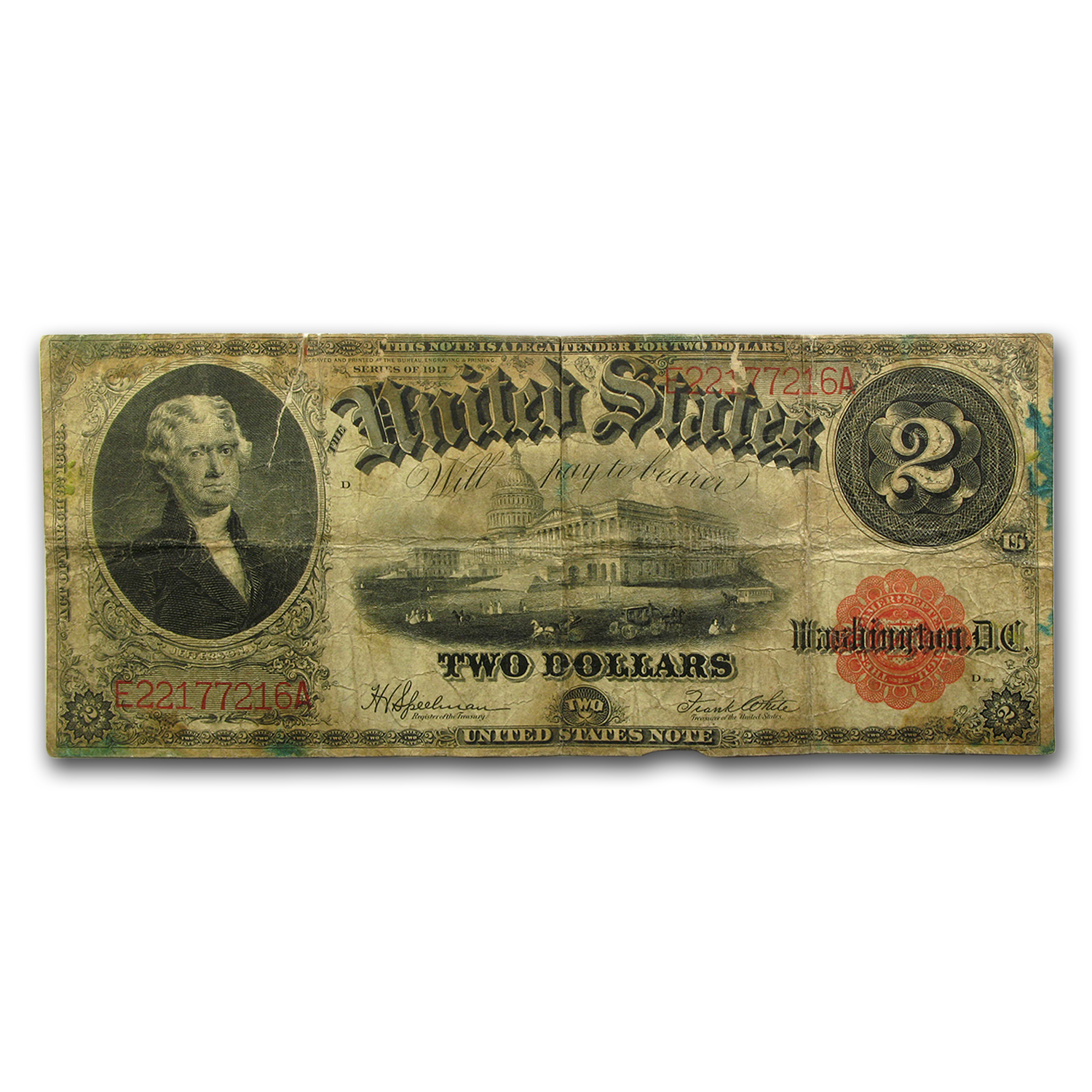 1917 $2.00 Legal Tender Jefferson Good