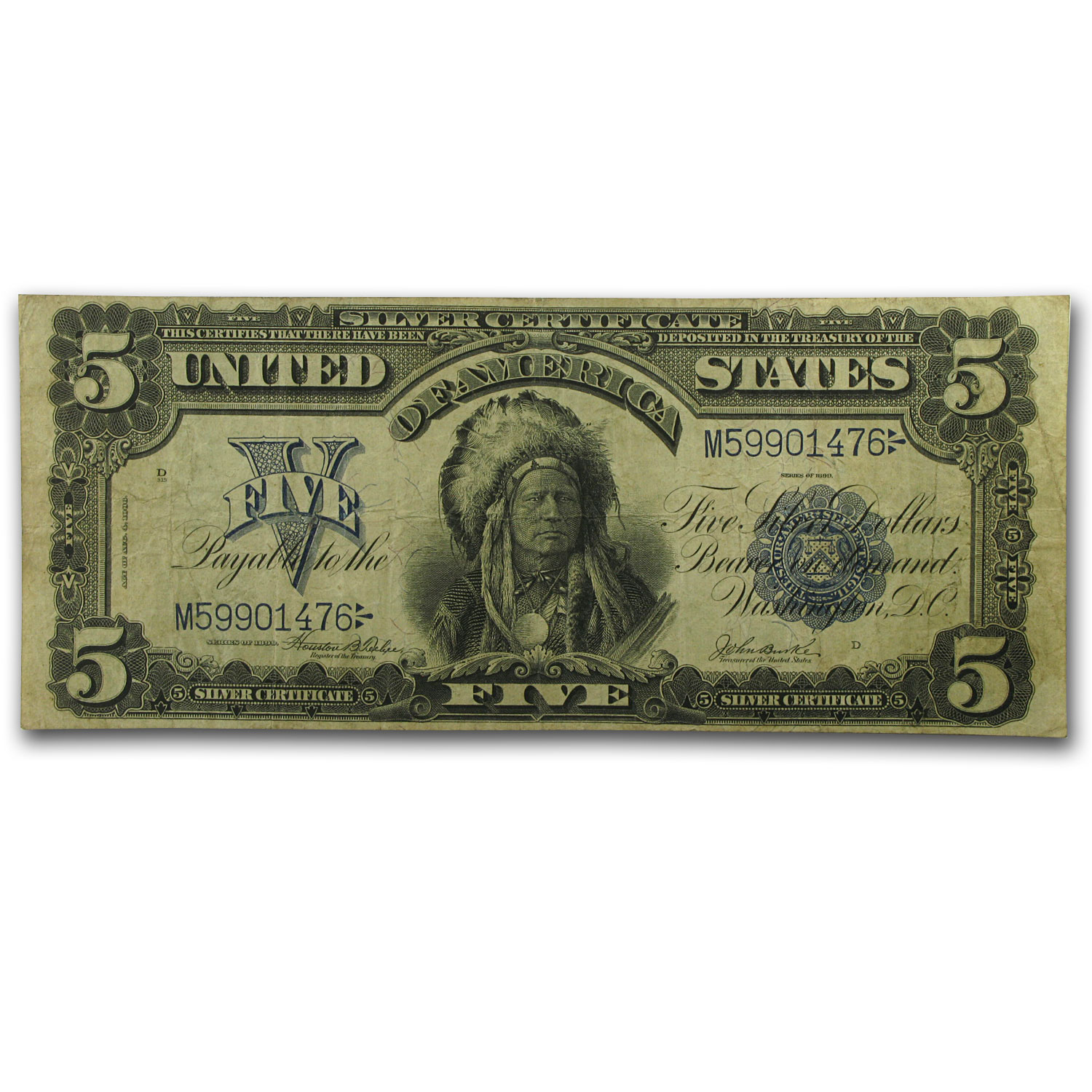 1899 $5.00 Silver Certificate Chief Running Antelope VF/XF