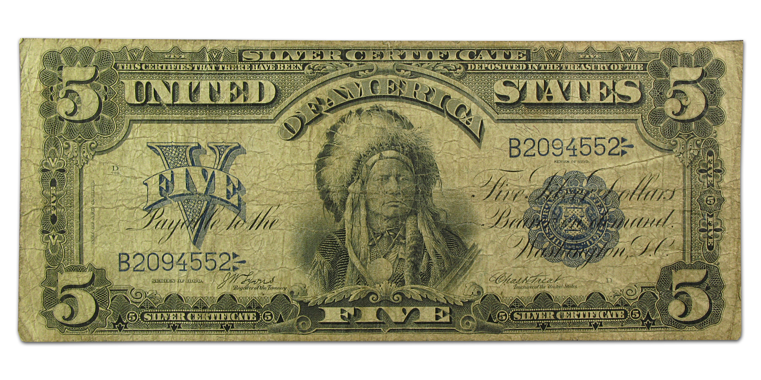 1899 $5.00 Silver Certificate Chief Running Antelope Fine