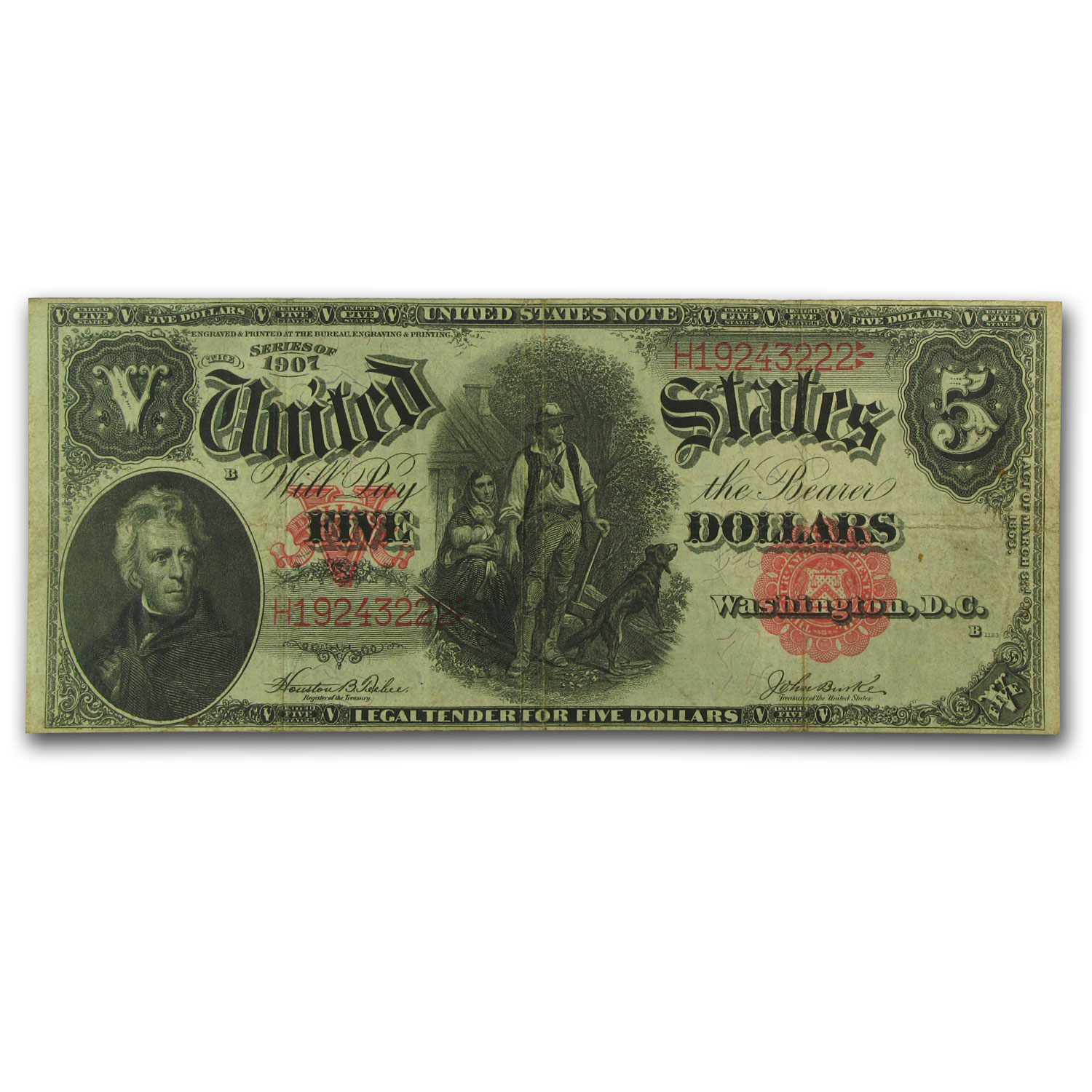 1907 $5.00 Legal Tender Andrew Jackson/Woodchopper VF (FR#88)