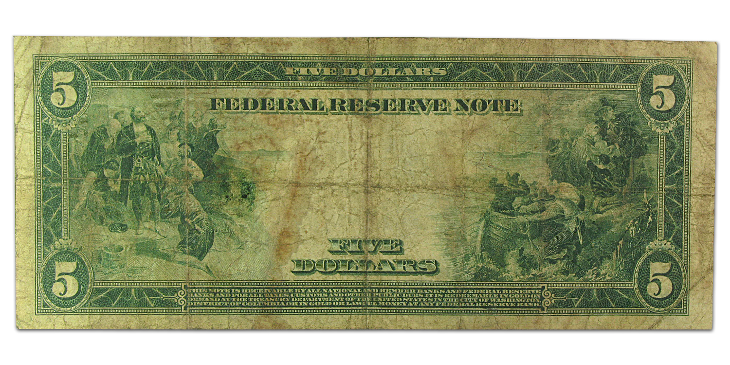 1914 (B-New York) $5.00 FRN Type A (Very Good)