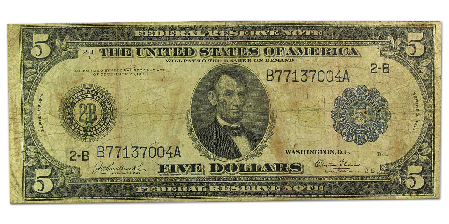 1914 (B-New York) $5.00 FRN Type A VG
