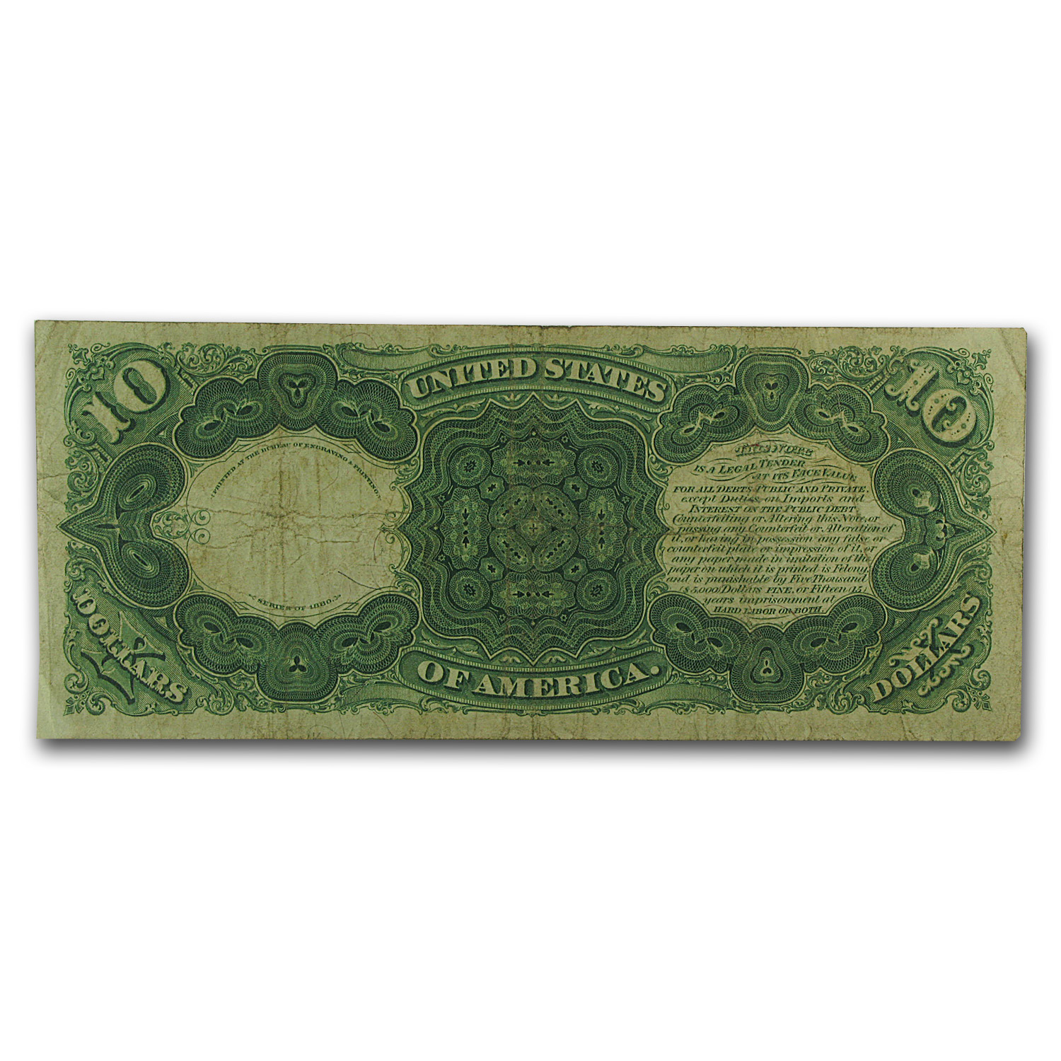 1880 $10 Legal Tender - Daniel Webster (Very Fine)
