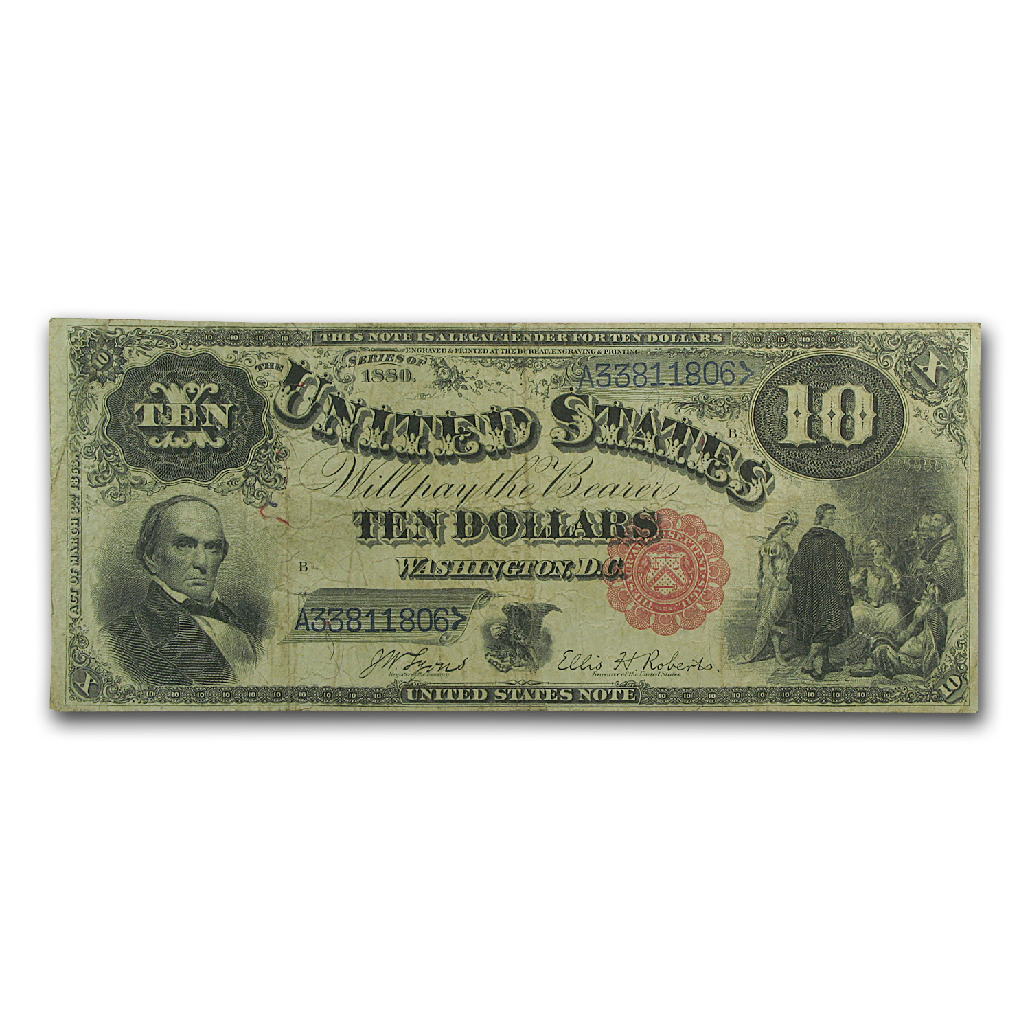 1880 $10 Legal Tender Daniel Webster VF