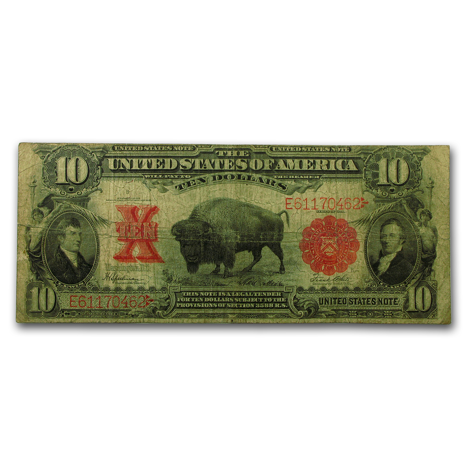 1901 $10 United States Note Bison VG