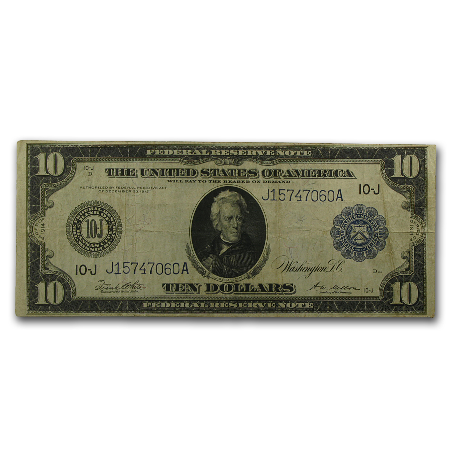 1914 (J-Kansas City) $10 FRN XF (FR#943a)