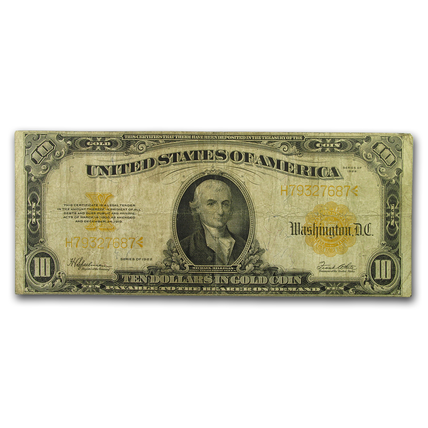 1922 $10 Gold Certificate VG