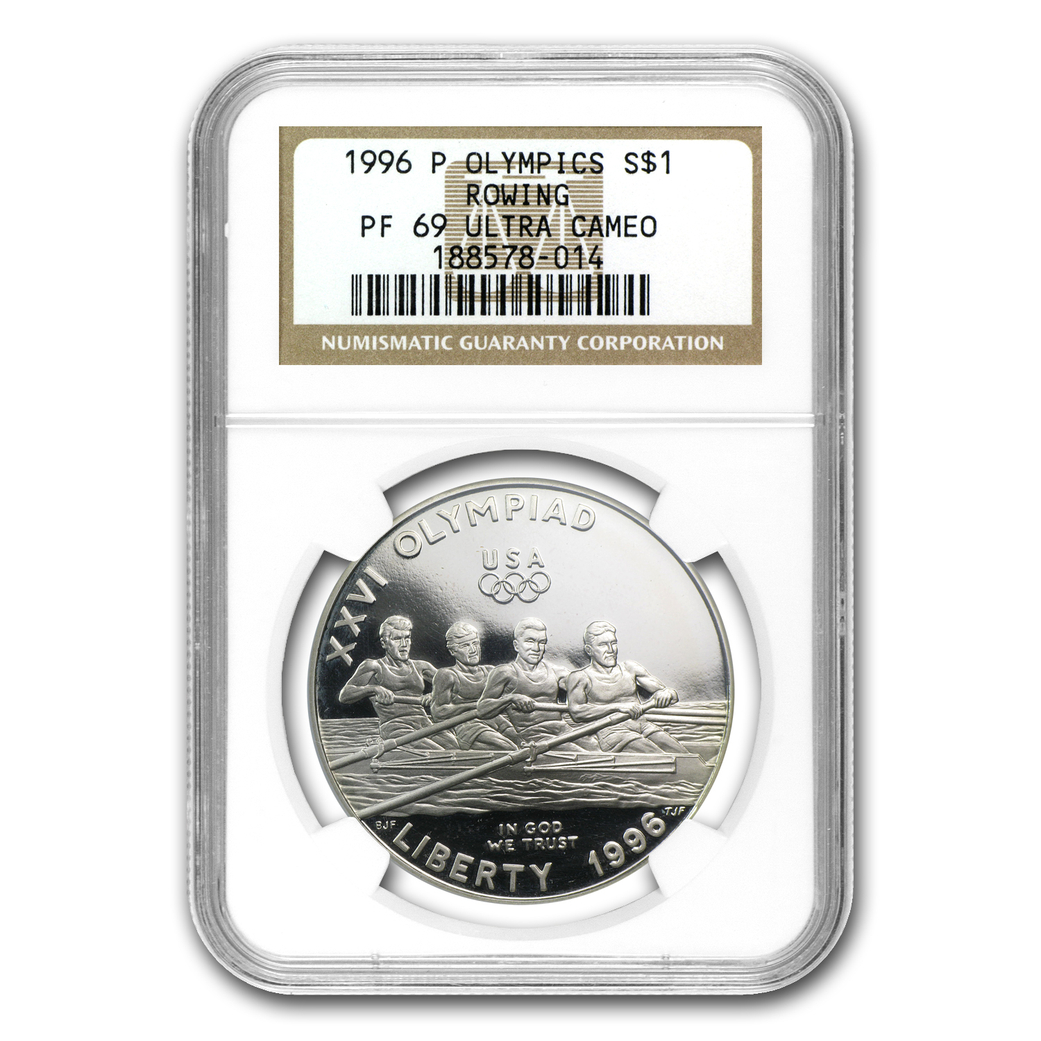 1996-P Olympic Rowing $1 Silver Commem PF-69 NGC