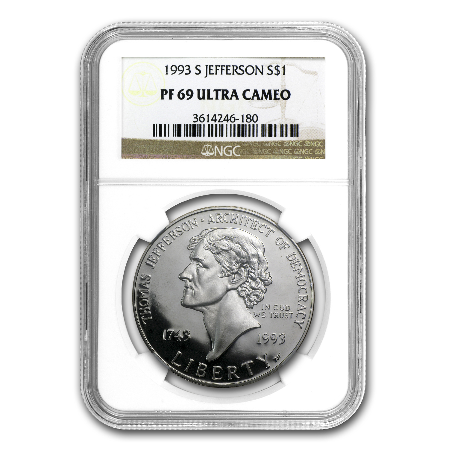 1993-S Jefferson 250th Anniv $1 Silver Commem PF-69 NGC
