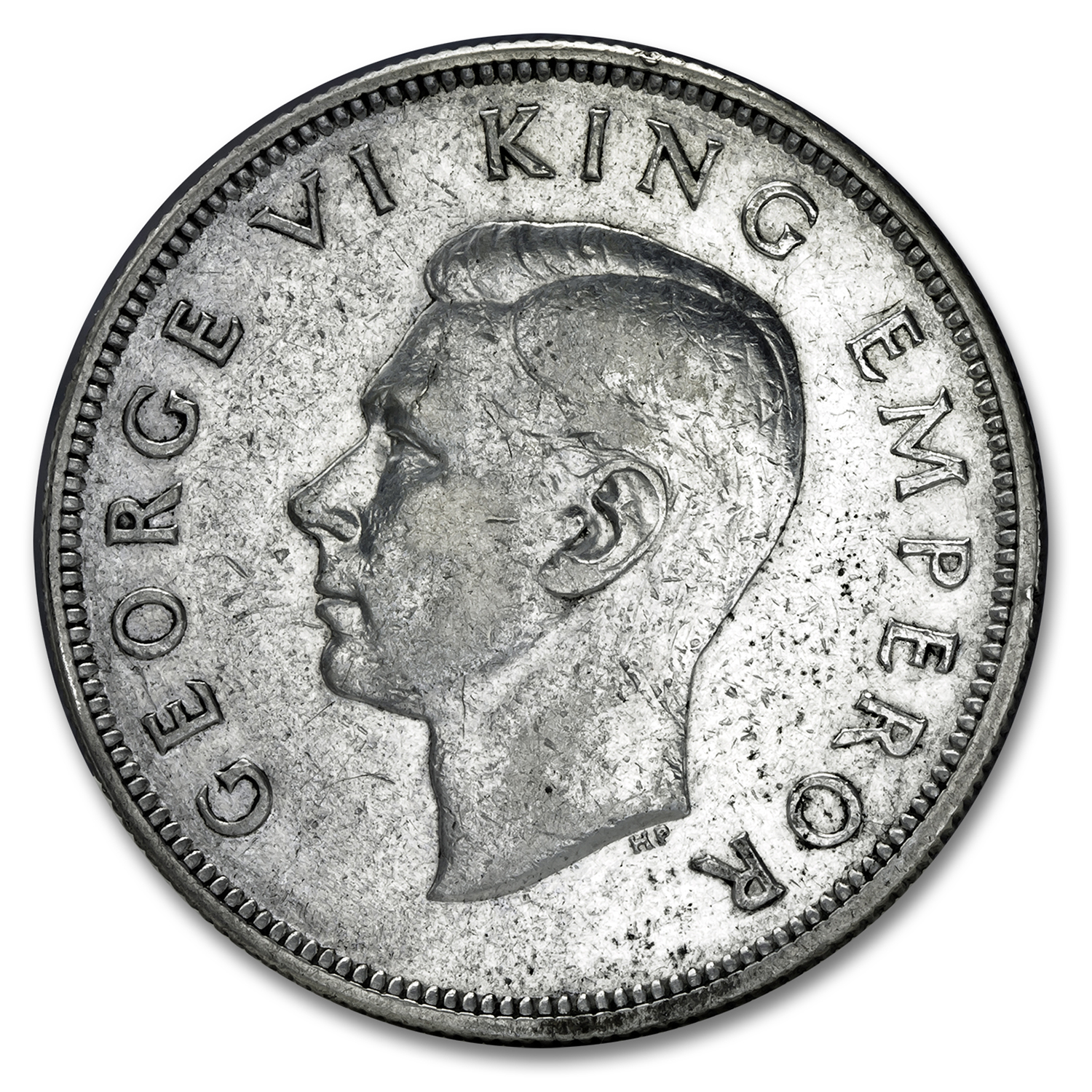 New Zealand Silver 1/2 Crown George VI Avg Circ