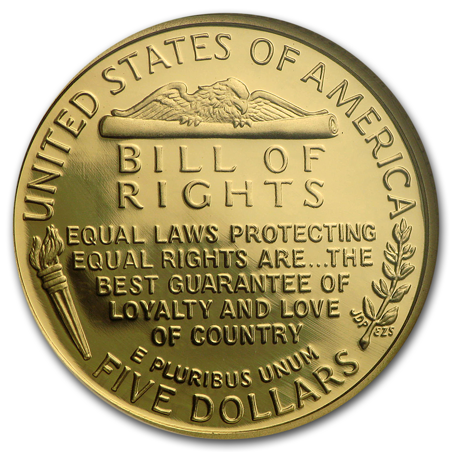 1993-W Gold $5 Commem Bill of Rights PF-69 NGC