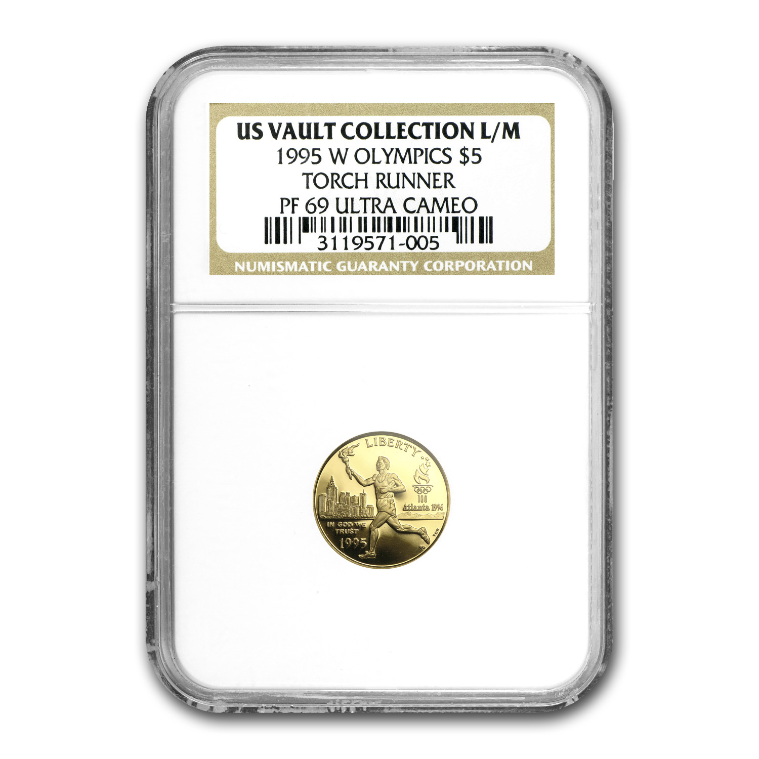 1995-W Gold $5 Commem Olympic Torch Runner PF-69 NGC