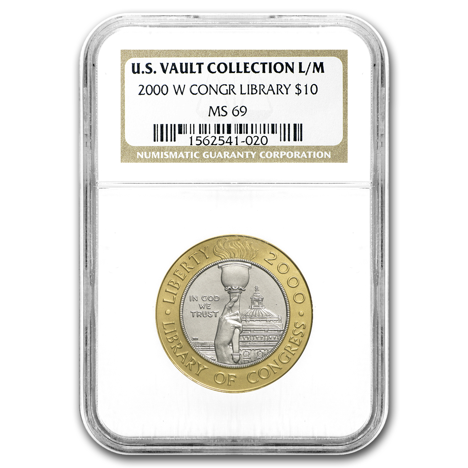 2000-W Gold/Platinum $10 Commem Library of Congress MS-69 NGC