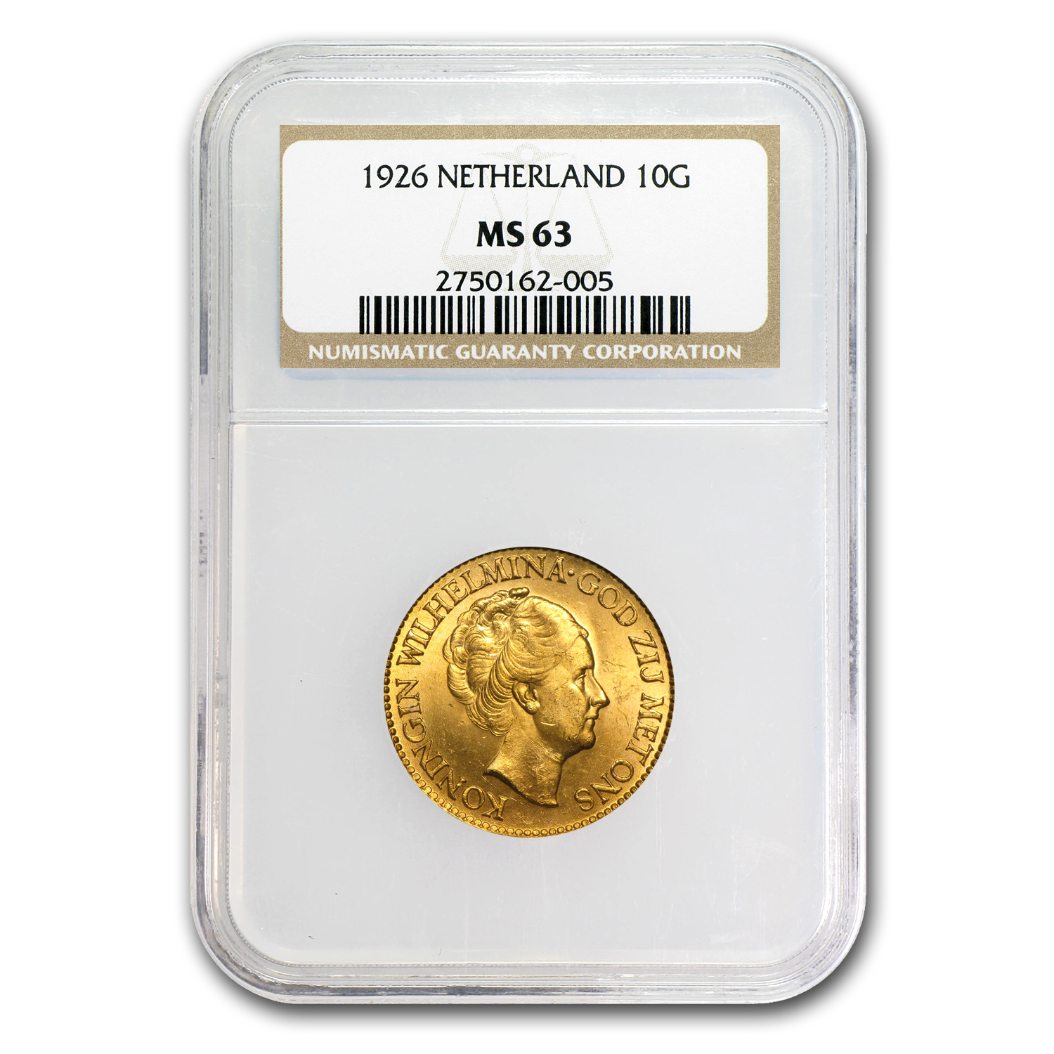 Netherlands 1911-1933 10 Gulden Gold Coin - MS-63 NGC/PCGS