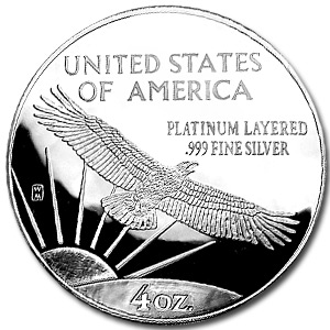 4 oz Silver Round - Platinum Eagle Replica