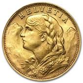 Swiss Gold 20 Francs Helvetia AU (Random)