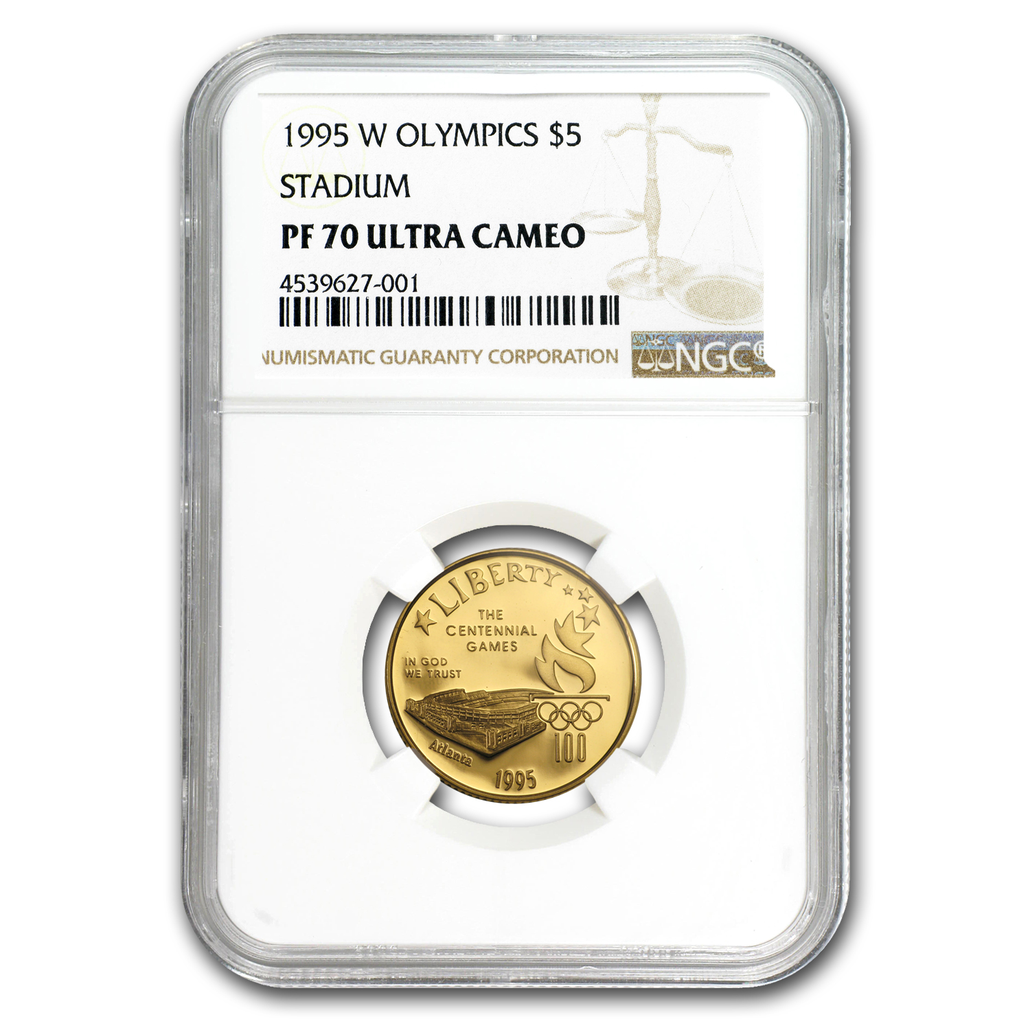 1995-W Olympic Stadium - $5 Gold Commemorative - PF-70 UCAM NGC