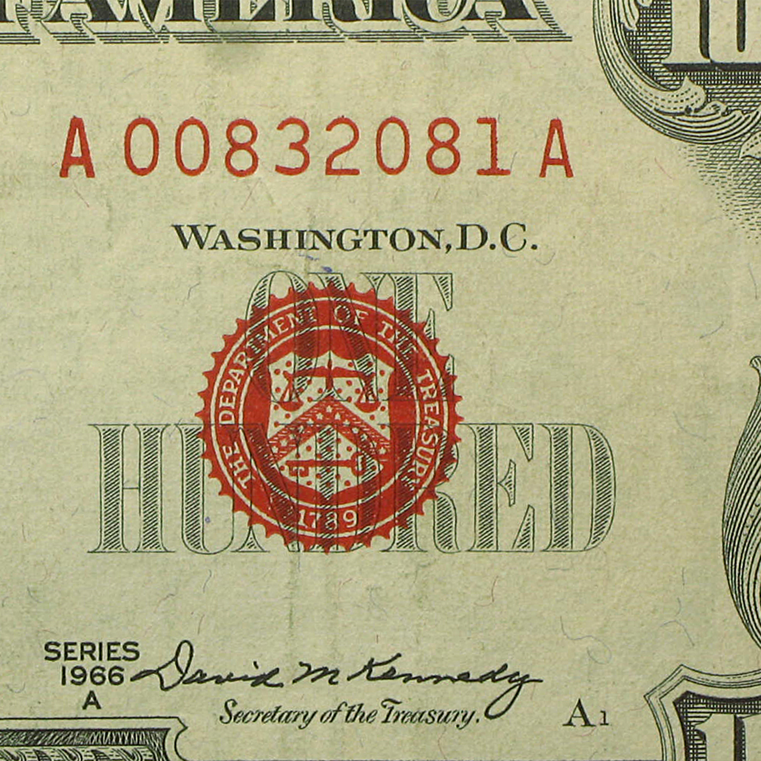 1966-A $100 U.S. Note Red Seal XF