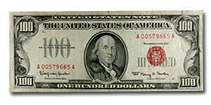 1966 $100 U. S. Note VF Details (Red Seal)