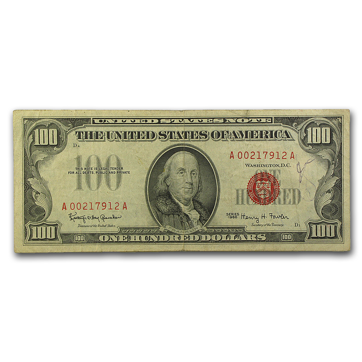 1966 $100 U.S. Note Red Seal VF Details